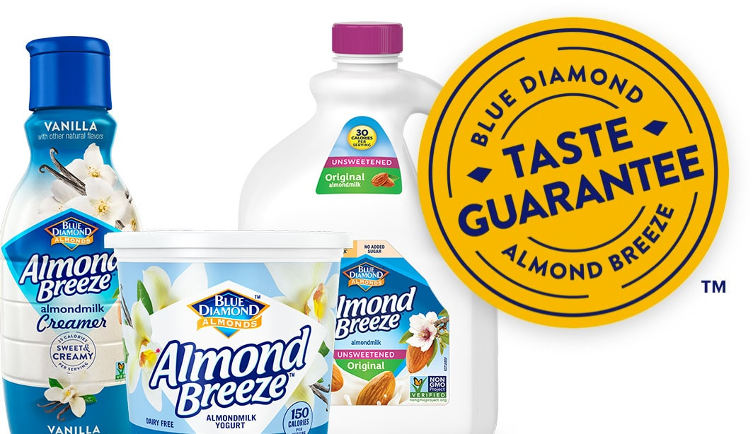 Almond Breeze products with Taste Guarantee badge